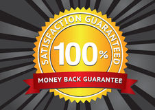 Satisfaction guaranteed. Customer satisfaction guaranteed gold seal and red banner Stock Illustration