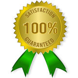 Satisfaction guaranteed. The Illustration of a gold seal and red ribbon with the message Satisfaction 100% Guaranteed Royalty Free Stock Photos