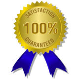 Satisfaction guaranteed. The Illustration of a gold seal and red ribbon with the message Satisfaction 100% Guaranteed royalty free illustration