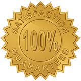 Satisfaction Guaranteed. Gold label for 100% satisfaction guaranteed Stock Image