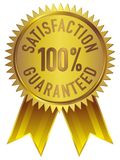 100% Satisfaction Guaranteed Badge Icon in Gold with ribbon. Isolated white Vector Illustration