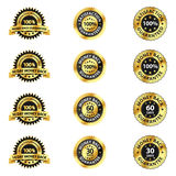 Satisfaction Guaranteed Badges. A set of 12 different symbols, badges which indicate money back and satisfaction guaranteed Stock Illustration