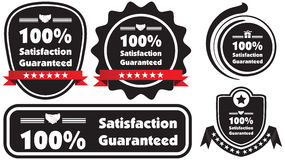 100% Satisfaction Guaranteed blue illustration label ribb. 100% Satisfaction Guaranteed black and white illustration label ribbon Royalty Free Illustration