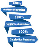 100% Satisfaction Guaranteed blue illustration label ribb. On Stock Illustration