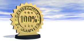 100 Satisfaction Guaranteed. 3D rendered 100% satisfaction guaranteed golden metallic seal on a nice sky cloud background Stock Photography