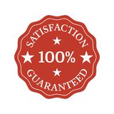 Satisfaction guaranteed flat badge on white background. Vector illustration Stock Illustration