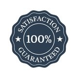 Satisfaction guaranteed flat badge on white background. Vector illustration Royalty Free Illustration