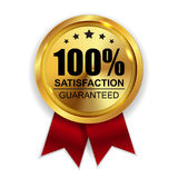 100 Satisfaction Guaranteed Golden Medal Label Icon Seal Sign. Isolated on White Background. Vector Illustration EPS10 stock illustration