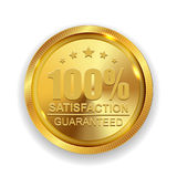 100 Satisfaction Guaranteed Golden Medal Label Icon Seal Sign. Isolated on White Background. Vector Illustration EPS10 Vector Illustration