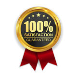 100 Satisfaction Guaranteed Golden Medal Label Icon Seal Sign Stock Photo