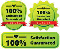 100% Satisfaction Guaranteed green illustration label wit. H red ribbon vector illustration
