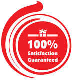 100% Satisfaction Guaranteed illustration label. In red Royalty Free Illustration