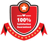 100% Satisfaction Guaranteed illustration label. In red Stock Illustration