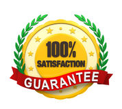 Satisfaction Guaranteed Label. Isolated on white background. 3D render Vector Illustration