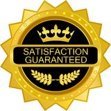 Satisfaction Guaranteed Luxury Gold Badge Icon. Satisfaction guaranteed luxury gold badge with a laurel wreath and a crown stock illustration
