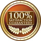 Satisfaction Guaranteed One Hundred Percent Gold Emblem Icon. Satisfaction guaranteed one hundred percent gold emblem with a laurel wreath and stars vector illustration