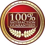 Satisfaction Guaranteed One Hundred Percent Red Label Icon. Satisfaction guaranteed one hundred percent red label with a laurel wreath and stars vector illustration
