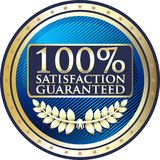 Satisfaction Guaranteed One Hundred Percen Gold Icon. Satisfaction guaranteed 100 percent gold icon with a laurel wreath and stars stock illustration