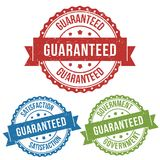 Satisfaction, guaranteed, recommended, vector badge label stamp tag for product, marketing selling online shop or web e-commerce. Satisfaction, guaranteed Stock Image