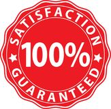 Satisfaction 100%  guaranteed red sign, vector illustration. Satisfaction 100% guaranteed red sign, vector Stock Photos