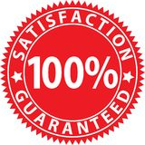 Satisfaction 100%  guaranteed red sign, vector illustration. Satisfaction 100%  guaranteed red sign, vector Royalty Free Stock Photos