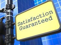 Satisfaction Guaranteed - Roadsign. Satisfaction Guaranteed - Roadsign on Blue Background. Business Concept Royalty Free Stock Photos
