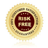 100% satisfaction guaranteed seal. 100% customer satisfaction guaranteed stamp with risk free text on center Stock Images