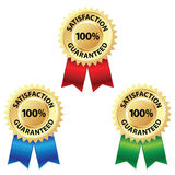Satisfaction Guaranteed Badge. Illustration of a gold seal or badge with a red, blue and green ribbon. The golden seal reads Satisfaction 100% Guaranteed. The vector illustration