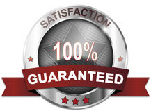 Satisfaction 100% guaranteed. Silver satisfaction 100% guaranteed badge Royalty Free Stock Image