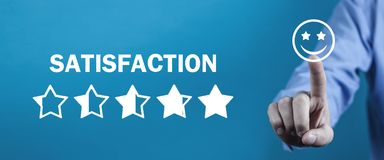 Satisfaction. Increase Rating. Feedback,  Quality Review stock photography