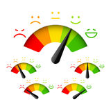 Satisfaction meter. Customer satisfaction meter with different emotions Royalty Free Stock Images
