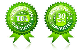 Satisfaction and money back guarantee labels. Satisfaction and money back guarantee green labels stock illustration