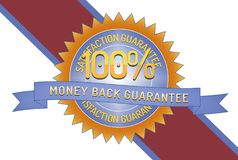 100% Satisfaction Money Back Guarantee. 100% Satisfaction Guarantee Money Back Guarantee badge and ribbon style design element on white background Royalty Free Stock Photography