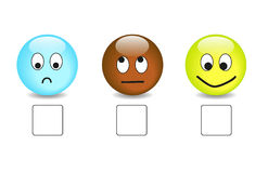 Satisfaction questionnaire with emoticons. Satisfaction questionnaire with nice colorful smilies Royalty Free Stock Images