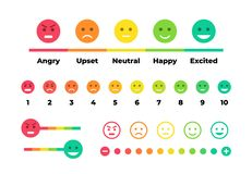 Free Satisfaction Rating. Feedback Scale With Emoticon Faces, Bad To Good User Experience. Vector Set Of Emoticons With Stock Image - 161594681