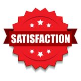 Satisfaction stamp seal. Vector illustration of 100 safety seal green red star on isolated white background royalty free illustration