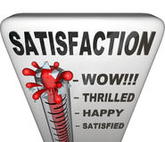 Satisfaction Thermometer Measuring Happiness Fulfillment Level Stock Images