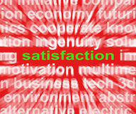 Satisfaction Word Shows Enjoyment Contentment And Fulfilment Stock Images