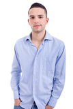 Satisfaction. Young casual man portrait, isolated on white Stock Image