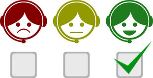 Satisfactions Icons of Telemarketing Stock Photo