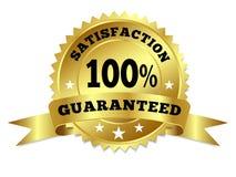 Satisfação do emblema do ouro garantida com fita Imagens de Stock Royalty Free