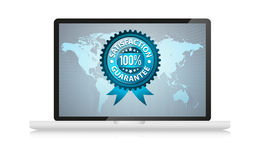 Satisfation guarantee label in laptop. Isolated on white Stock Photography