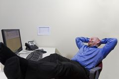 Satisfied. A office worker / businessman satisfied with what he has achieved stock photo