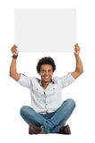 Satisfied African Man With Sign Royalty Free Stock Image