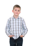Satisfied Boy Keeps Hands In Pockets Royalty Free Stock Photo