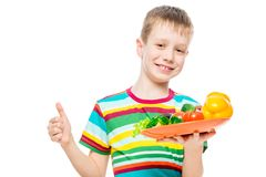 Satisfied boy with a plate of healthy vegetables isolated on white background. Portrait royalty free stock photos