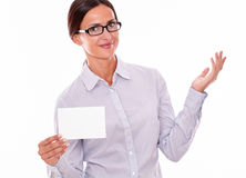 Satisfied brunette businesswoman with copy space Stock Image