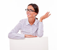 Satisfied brunette businesswoman with copy space Royalty Free Stock Photography