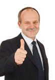 Satisfied businessman. Successful businessman pointing finger optimistic-isolated on white stock photos