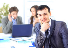 Satisfied businessman looking Stock Photos